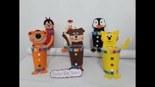 Lembrancinhas Dia das Crianças feitas com potinhos de requeijão