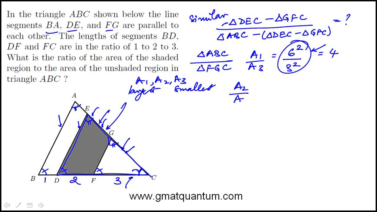 Area Of Shaded Region In A Triangle: Gmat Math Practice Question#76