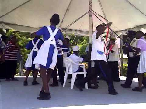 Barbados Land ship performing at BARP Elders appreciation day May Pole Dance