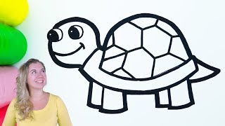 Cute Turtle coloring and drawing for Kids with Paint