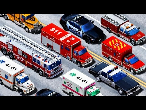 Emergency Vehicles - Learning Vehicles Names and Sounds   Police Car. Fire Truck. Rescue Trucks Kids