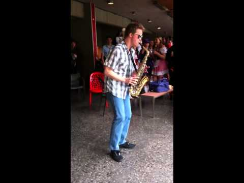 """""""Jazz"""" Justin Foster as the """"Epic Sax Guy"""" with improv solo - Oct 2013"""