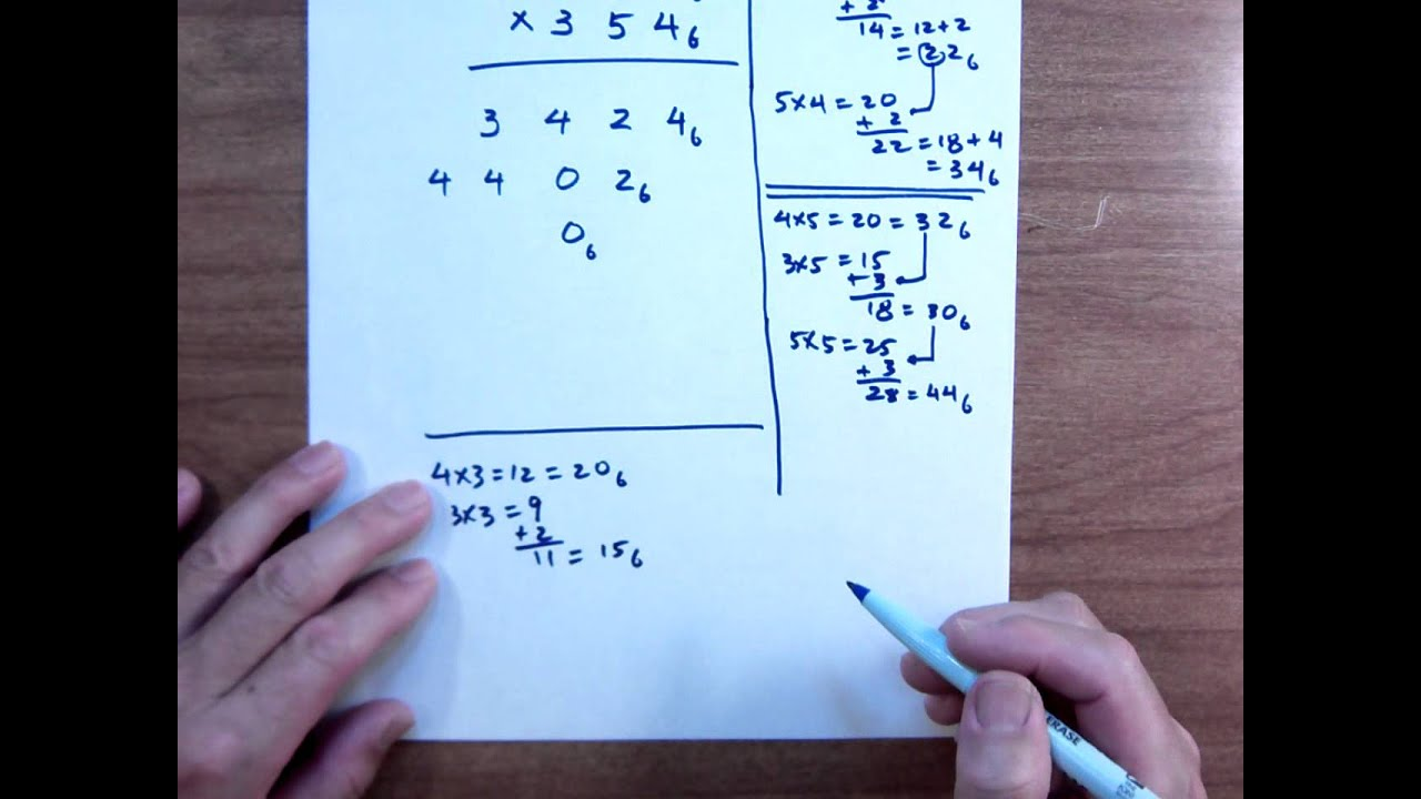 MULTIPLICATION IN BASE 6, THREE DIGIT PROBLEM - YouTube