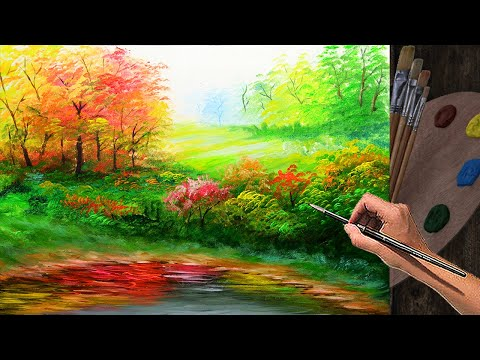 Learn Basic Acrylic Landscape Painting Tutorial with forest and autumn trees | Art Lesson Beginners