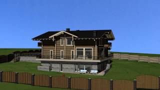 Шале 7(Проект деревянного брусового дома. На склоне с видом на воду. Современное прочтение стиля