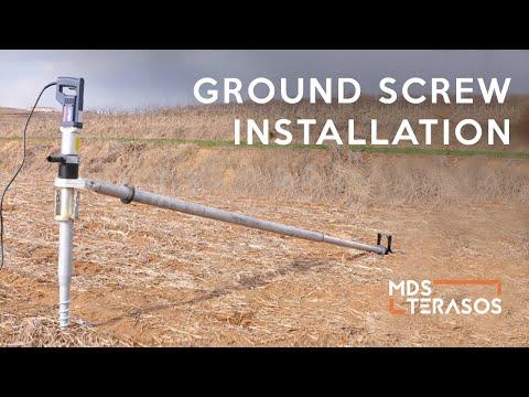 Ground screw installation | Sraigtiniai pamatai