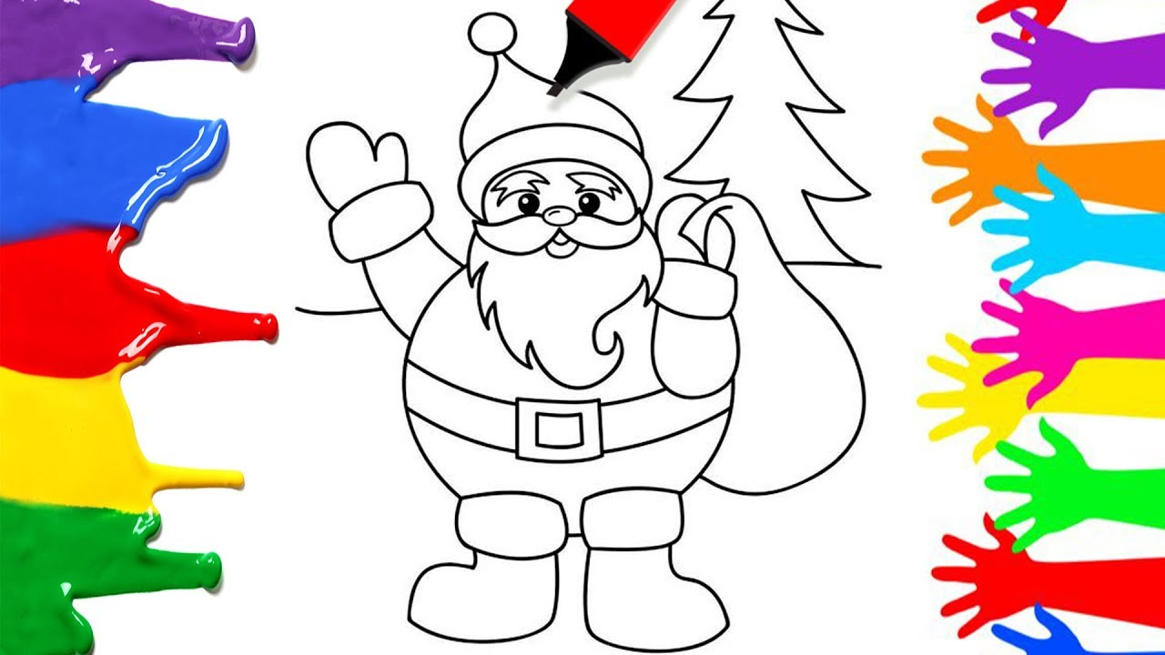 simple christmas coloring pages for kids how to draw santa clause easy learn art