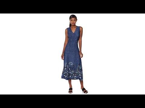 5e89d9ca2 Liz Lange Silky Denim Knit Maxi Dress - YouTube