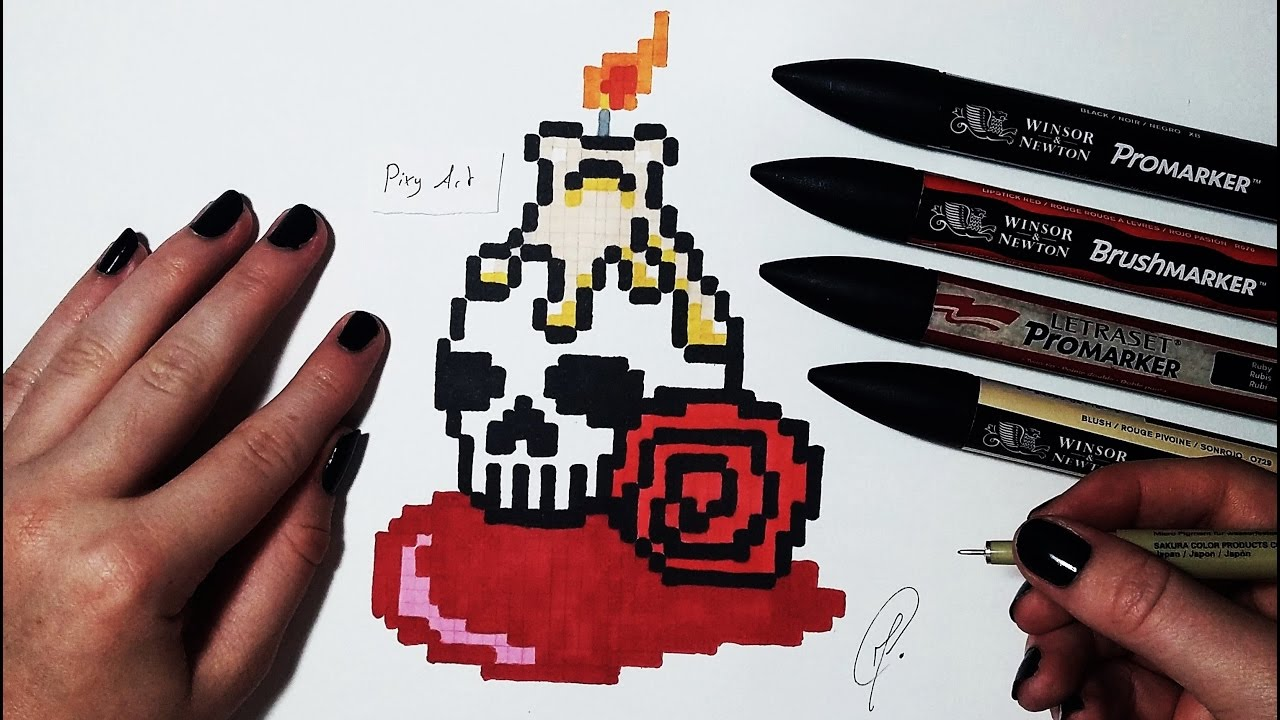 Bloody Skull Drawing Halloween Pixel Art