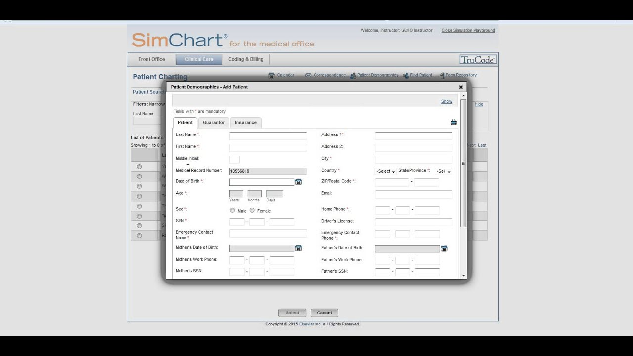 How do I create a new patient in SimChart for the Medical Office? by  Elsevier Education Customer Support