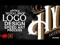 VINTAGE TATTOO SHOP LOGO DESIGN ILLUSTRATOR CC SPEEDART