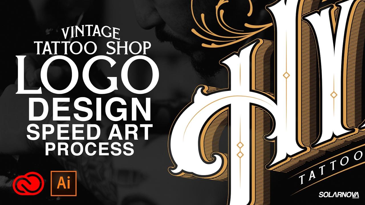 VINTAGE TATTOO SHOP LOGO DESIGN ILLUSTRATOR CC SPEEDART - YouTube