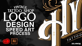 VINTAGE TATTOO SHOP LOGO DESIGN ILLUSTRATOR CC SPEEDART