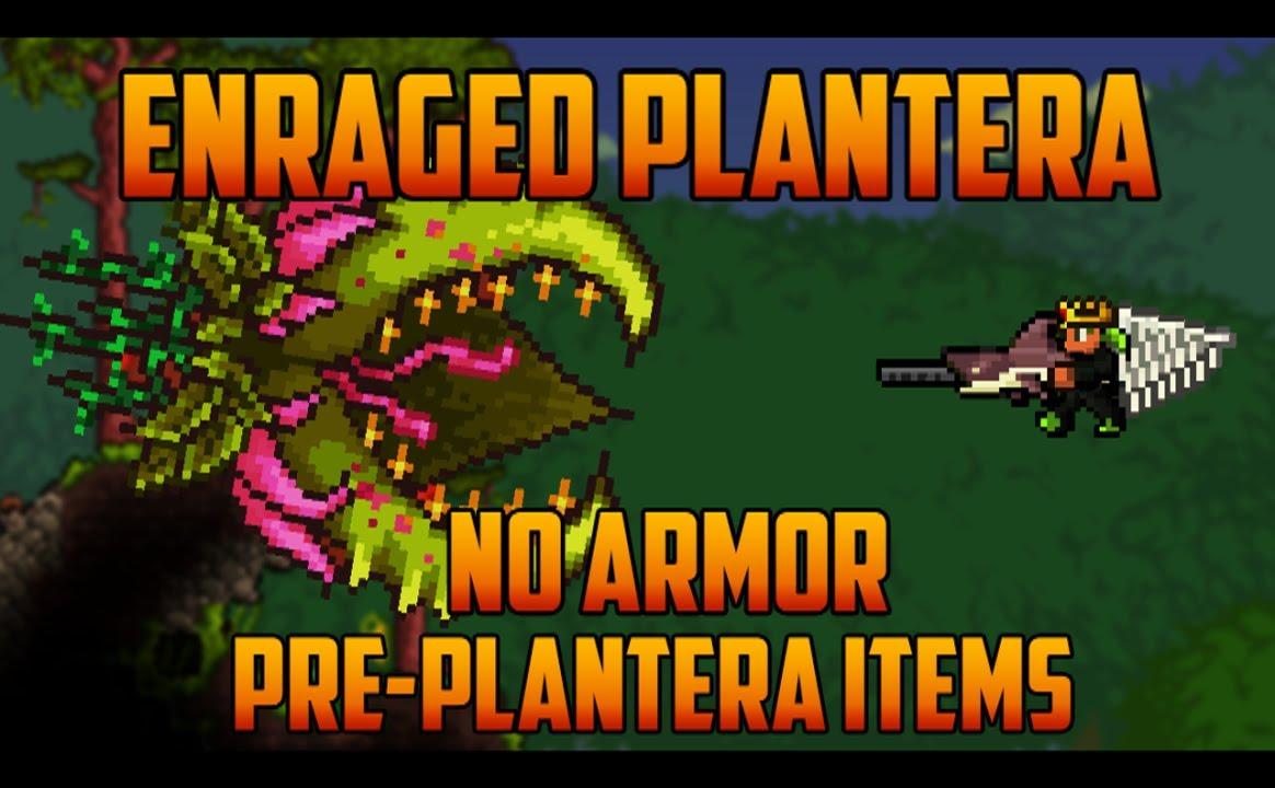 Terraria Enraged Plantera No Armor Pre Plantera Gear Youtube