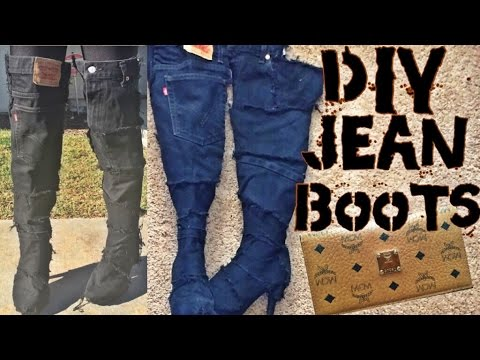 In This Video You Ll See How I Used My Old Denim To Redesign A Pair Of Warn Out Boots All Need Is An Denims Hot Glue Gun Any H