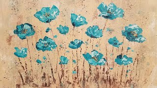 Easy Impasto Poppies Palette Knife Techniques Acrylic Painting Tutorial LIVE Step by Step Lesson
