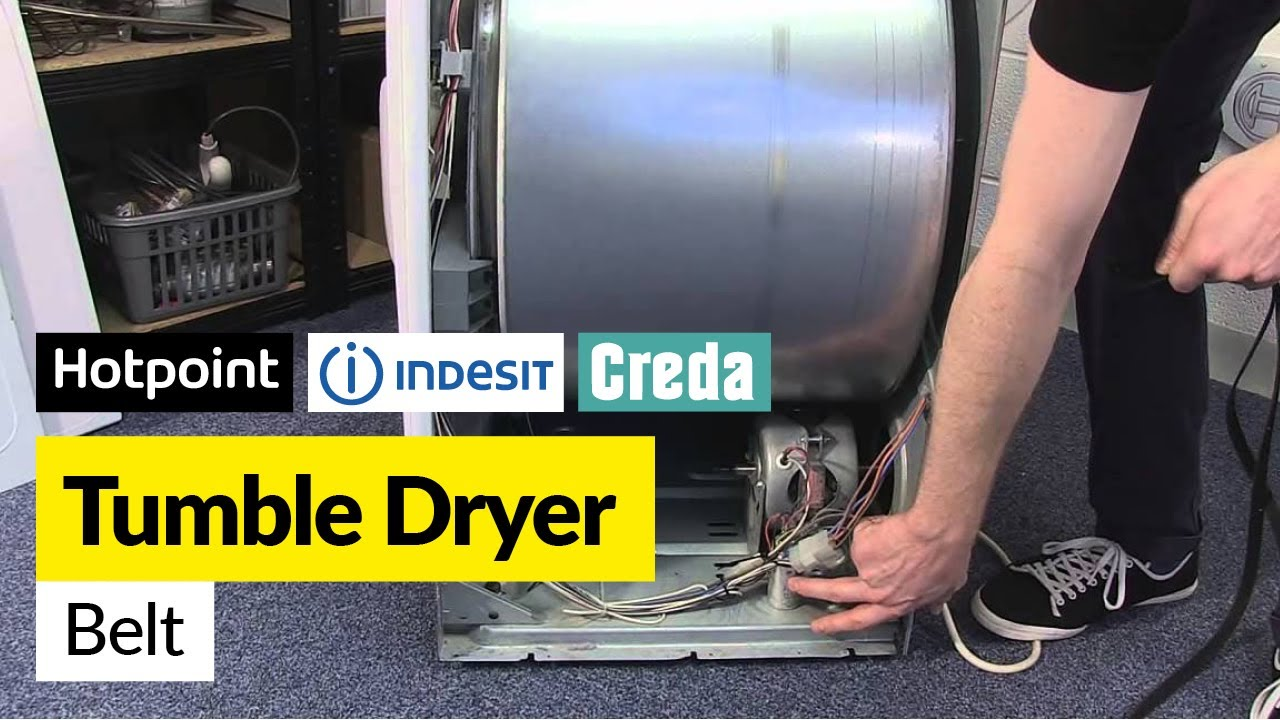 how to replace the belt on a vented tumble dryer hotpoint indesit or creda youtube. Black Bedroom Furniture Sets. Home Design Ideas