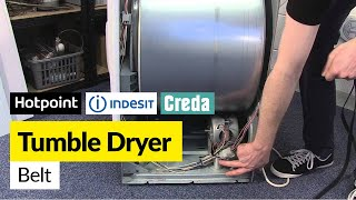 how to replace the belt on a vented tumble dryer hotpoint indesit or creda