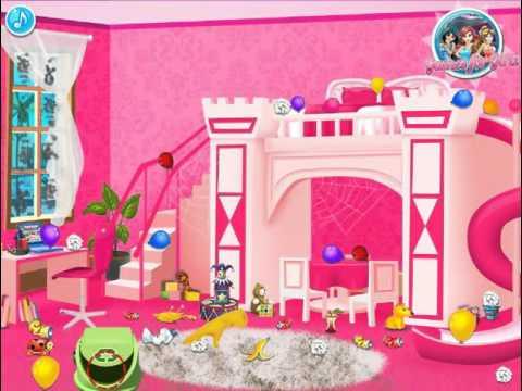 Мультик игра Уборка в комнате принцесс Диснея (Baby Princesses Room)