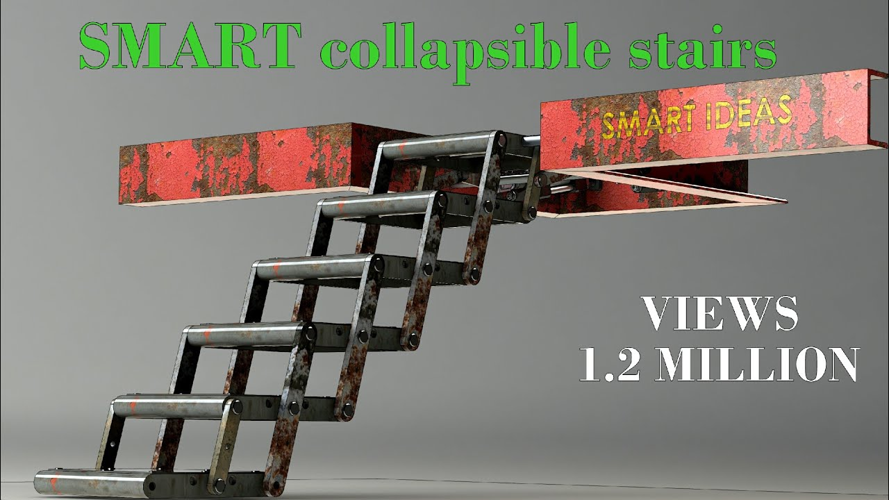 Foldable Stair Mechanism Youtube | Folding Staircase Steel Design | Stair Railing | Loft | Glass Railing | Spiral Staircase | Handrail