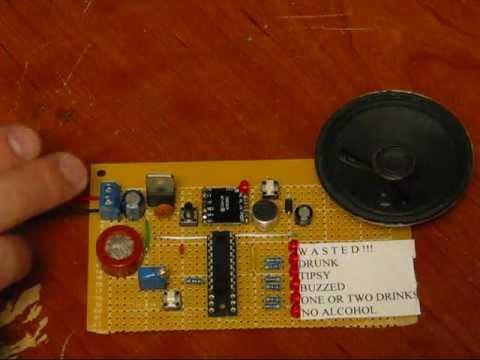 Breathalyser Circuit Featuring The Mq3 Alcohol Sensor