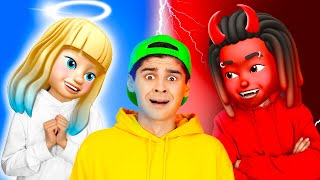 OMG! ANGEL AND DEMON CONTROL ME || Inside Out Good VS Evil Rules! Funny Pranks Emoji By 123 GO! BOYS