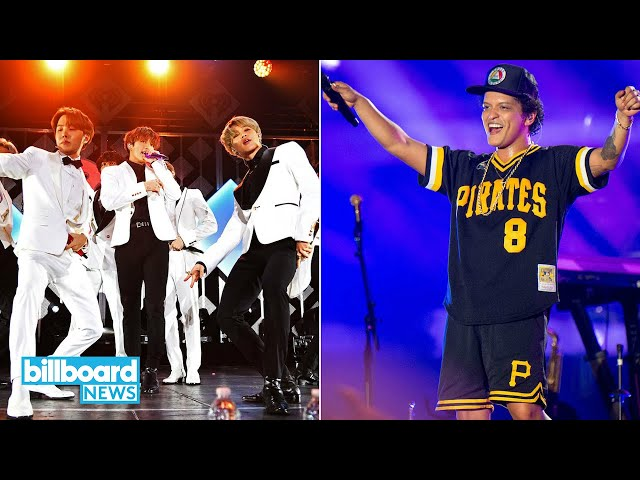 Bruno Mars Reacts to BTS Covering \'Finesse\' On Carpool Karaoke With James Corden | Billboard News