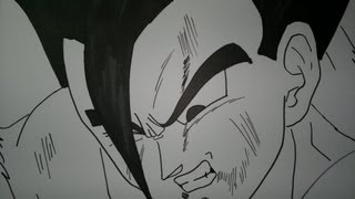 How To Draw Mystic Gohan.神秘的なご飯を描画する方法.