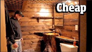 CHEAP But GORGEOUS Bathroom remodel for $497 -  LOG Sink masterpiece pt 1of 2