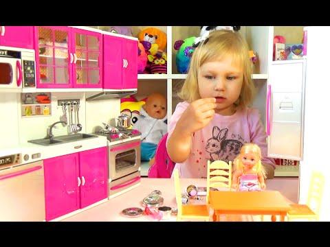 Кухня для куклы Барби распаковка Kitchen for Barbie doll unboxing
