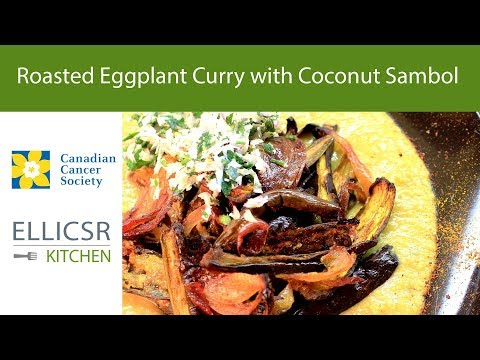 Roasted Eggplant Curry with Coconut Sambol