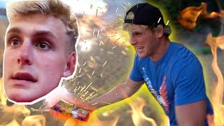 SHOOTING FIREWORKS AT MY BROTHER AND HIS WIFE! (Honeymoon Prank) thumbnail