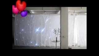 led white curtain white color 3x6m star effect wedding mandap
