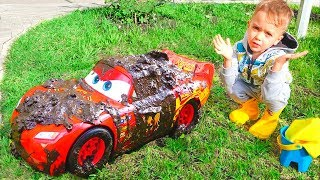Nikita and Red Toy Car Wash
