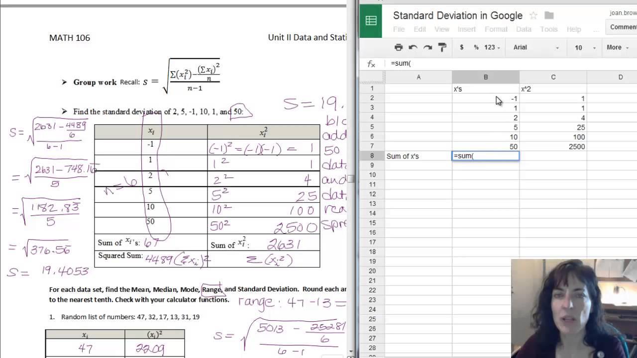 Standard Deviation In Google Sheets