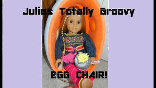 American Girl Doll Julie's Beforever Egg Chair In Her Bedroom Plus Tunic Outfit And Snack Set