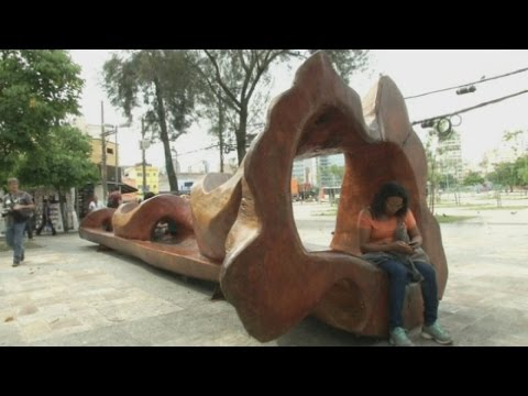 Artist designs amazing benches and play equipment from fallen trees in Sao Paulo