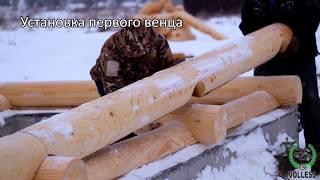 VOLLESS сборка сруба под крышу из оцилиндрованного бревна