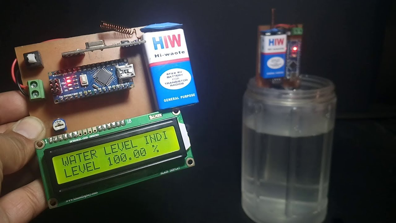 wireless water level indicator using arduino and ultrasonic sensor [ 1280 x 720 Pixel ]