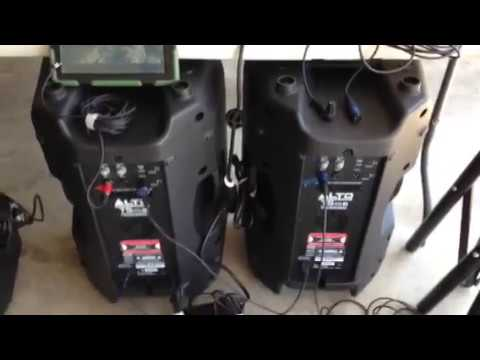 How to connect two Alto brand PA speakers without a mixer - YouTube