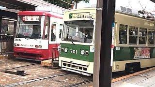 広島電鉄 広島駅ターミナルの連続発着シーン