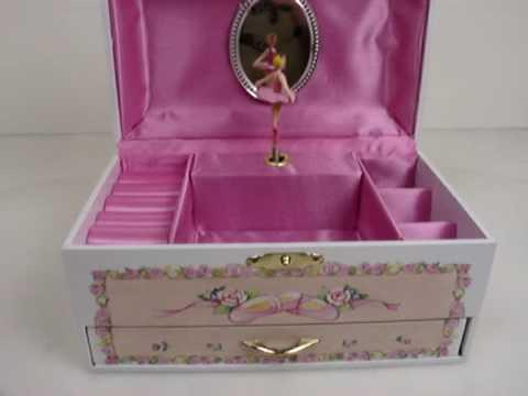 Childrens White Ballerina Rectangular Musical Jewelry Box With