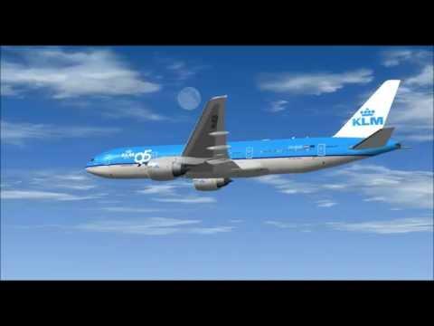BOEING 777 200ER KLM ROYAL DUTCH AIRLINE LANDING AT LUANDA AIRPORT FS9 HD