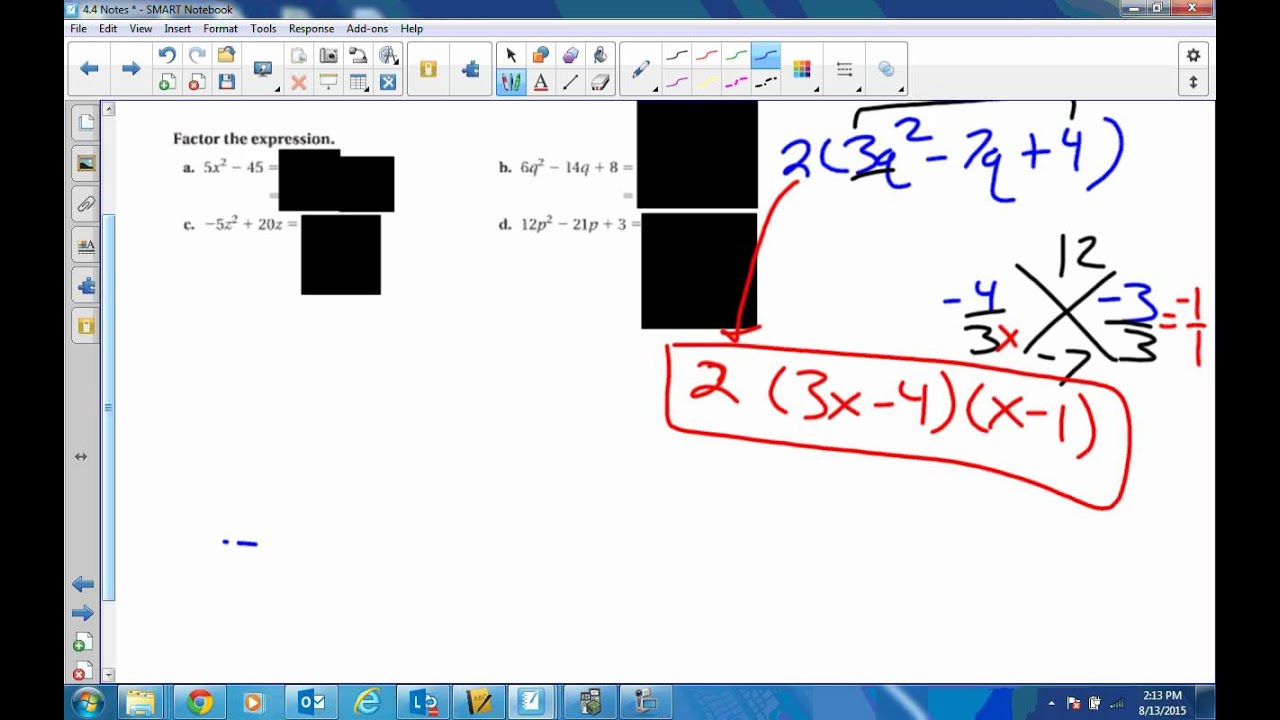 4 4 Solve Ax 2 Bx C 0 By Factoring