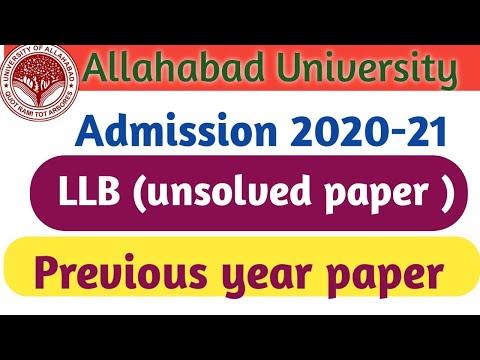 Allahabad University entrance exam (LLB)     peevious year paper #allahabaduniversityllb