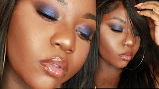 afordable blue smokey eyes dark skin eyes only    feat shaaanxo x bh cosmetics palettet