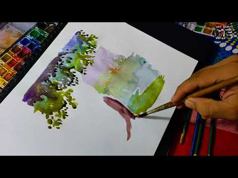 simple Watercolor painting/ tutorial nature painting for beginners 🔥 landscape/ by Mohit Sharma
