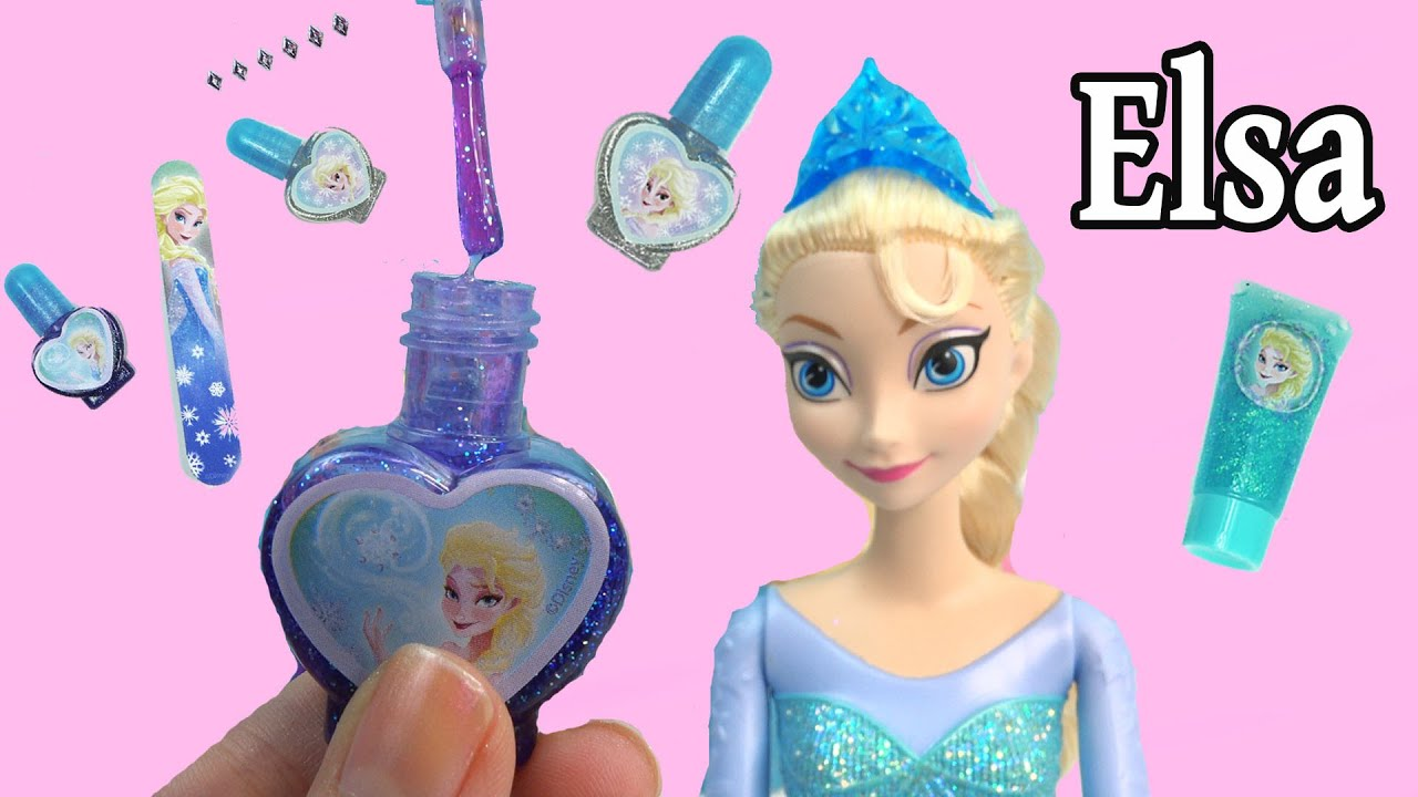 Disney Frozen Queen Elsa Sparkle Make-Up Set Nail Polish Body Glitter Dress  Up Playset Cookieswirlc - YouTube 042c84632a85