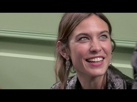 Alexa Chung on the front row of the J W Anderson show in London