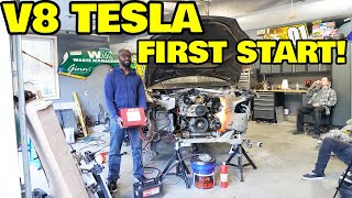 Starting the worlds first V8 powered Tesla